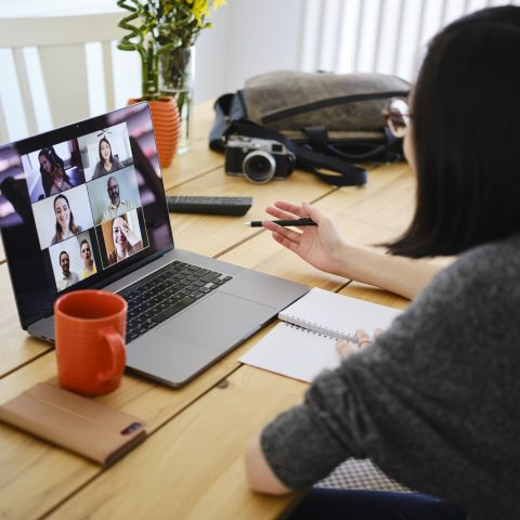 Woman Working at Home on a Web Chat Meeting
